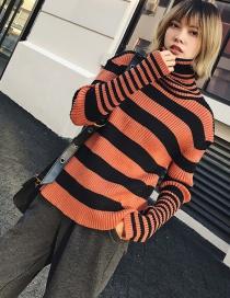Fashion Black Stripe Pattern Decorated Sweater
