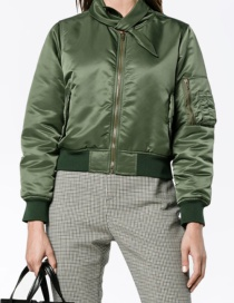 Fashion Olive Green Pure Color Decorated Jacket