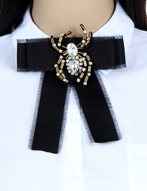 Fashion Black Spider Shape Decorated Bowknot Brooch