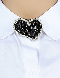 Fashion Black Heart Shape Decorated Brooch
