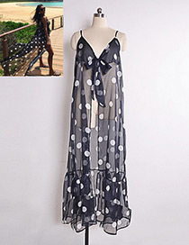Fashion Navy Dot Pattern Decorated Dress