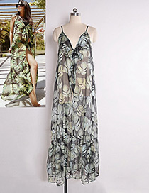Fashion Black+green Leaf Pattern Decorated Dress