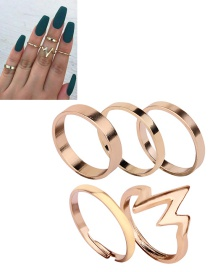 Fashion Gold Color Pure Color Decorated Ring (5 Pcs )