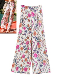 Fashion White Flower Pattern Decorated Long Pants