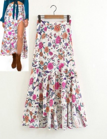 Fashion White Flower Pattern Decorated Simple Skirt