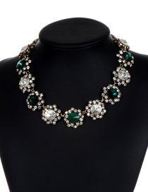 Fashion Green+white Flower Shape Decorated Necklace