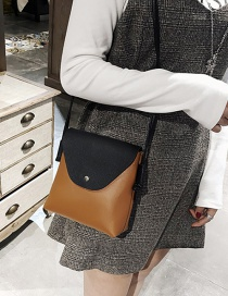 Trendy Brown Square Shape Design Mini Shoulder Bag