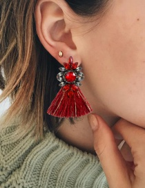 Fashion Red Water Drop Shape Decorated Earrings