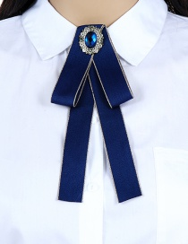 Fashion Sapphire Blue Oval Shape Decorated Bowknot Brooch