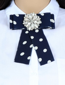 Fashion Navy+white Dot Pattern Decorated Bowknot Brooch