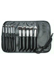 Fashion Black+silver Color Color Matching Decorated Cosmetic Brush(10pcs With Bag)