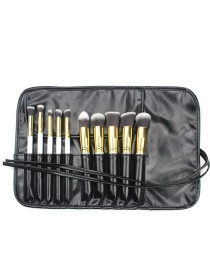 Fashion White+gold Color Color Matching Decorated Cosmetic Brush(10pcs With Bag)