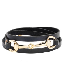 Fashion Black+gold Color Circular Ring Decorated Multi-layer Bracelet