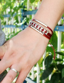Fashion Red Cross Shape Design Hand-woven Bracelet