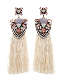 Trendy Beige Geometric Shape Diamond Decorated Tassel Earrings