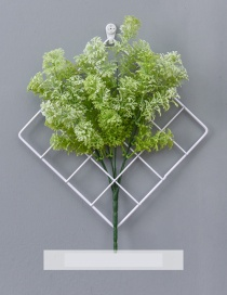 Fashion White+green Grid Shape Design Pure Color Ornament(with Pine Grass)