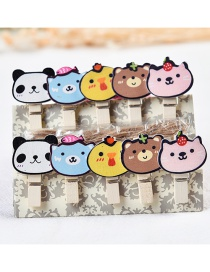 Fashion Multi-color Cartoon Bears Decorated Color Matching Clips(10pcs)