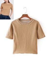 Fashion Beige Pearls Decorated Round Neckline Knitting Shirt