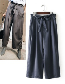 Fashion Dark Gray Pure Color Decorated Wide-legs Pants