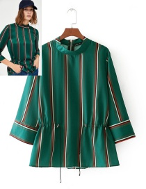 Fashion Green Stripe Pattern Decorated Long Sleeves Shirt