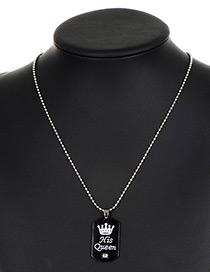 Fashion Silver Color+black Queen Pattern Decorated Pure Color Necklace