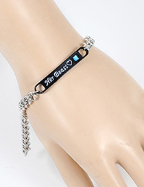 Fashion Black Letter Pattern Decorated Bracelet