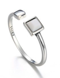 Fashion Silver Color+white Square Shape Diamond Decorated Opening Ring