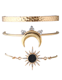 Vintage Gold Color Moon&sun Shape Decorated Bracelet (3pcs)