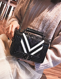 Fashion Black Stripe Shape Decorated Bag