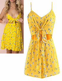 Lovely Yellow Rose Shape Decorated Jumpsuit