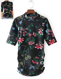 Fashion Multi-color Flower Shape Decorated T-shirt