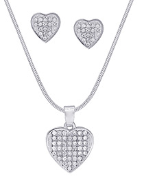 Lovely Silver Color Heart Shape Decorated Jewelry Sets