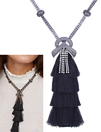 Bohemia Black Tassel Decorated Necklace
