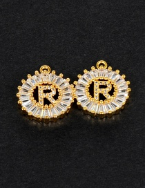Fashion Gold Color R Letter Shape Decorated Pendant (1pc)