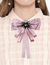 Elegant Pink Pure Color Decortaed Bowknot Brooch