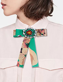 Fashion Green Geometric Shape Decorated Bowknot Brooch