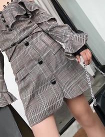 Fashion Gray Grid Shape Decorated Dress