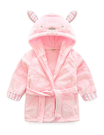 Lovely Pink Pure Color Decorated Children Bathrobe