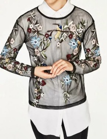Fashion Black Flower Shape Decorated Blouse