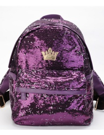 Fashion Purple Crown Shape Decorated Backpack