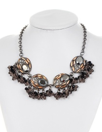 Fashion Gun Black Round Shape Decorated Necklace