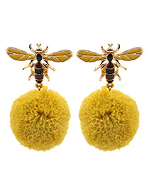 Personality Yellow Bee Shape Decorated Pom Earrings