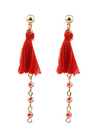 Bohemia Red Tassel Decorated Long Earrings