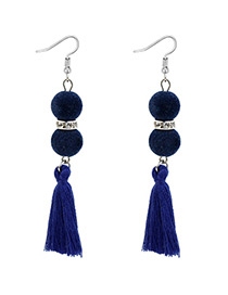 Bohemia Sapphire Blue Fuzzy Ball Decorated Tassel Earrings
