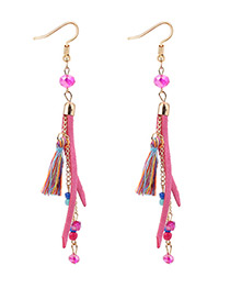 Bohemia Pink Tassel Decorated Long Chain Earrings