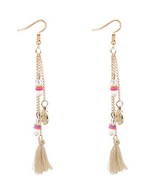 Bohemia Beige Coin Shape Decorated Tassel Earrings