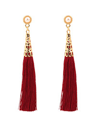 Fashion Red Pure Color Decorated Tassel Earrings