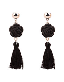 Vintage Black Flower&tassel Decorated Simple Earrings