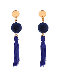 Personalized Sapphire Blue Fuzzy Ball Decorated Pom Earrings