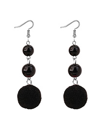 Elegant Black Fuzzy Ball Decorated Pom Earrings